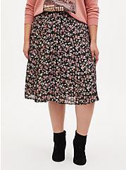 Black Floral Liquid Woven Midi Skirt, FLORAL - BLACK, hi-res