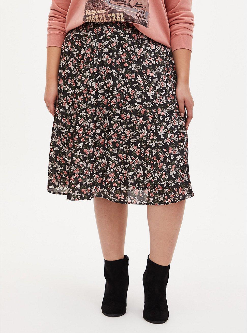 Black Floral Chiffon Midi Skirt, FLORAL - BLACK, hi-res
