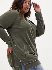 Olive Green Fleece Burnout Lace-Up Size Zip Tunic Hoodie, DEEP DEPTHS, hi-res