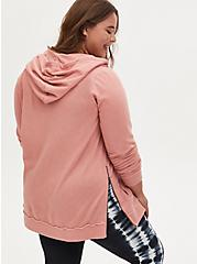 Dusty Coral Fleece Burnout Lace-Up Side Zip Tunic Hoodie, DESERT SAND, alternate