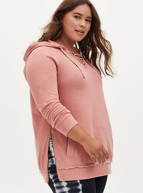 Dusty Coral Fleece Burnout Lace-Up Side Zip Tunic Hoodie, DESERT SAND, hi-res