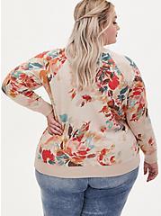 Light Taupe Floral Fleece Raglan Sweatshirt, , alternate