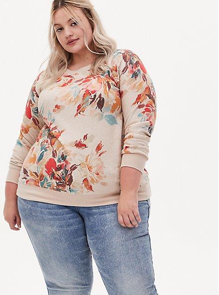 Light Taupe Floral Fleece Raglan Sweatshirt, , hi-res