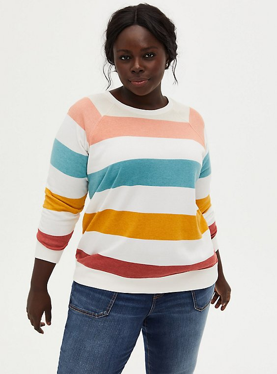 Stripe Fleece Raglan Sweatshirt, , hi-res