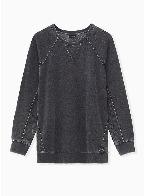 Black  Mixed Fleece Burnout & Waffle Knit Sweatshirt, DEEP BLACK, ls
