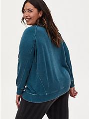 Teal Fleece Burnout & Waffle Knit Sweatshirt, SECRET GARDEN, alternate