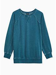 Teal Fleece Burnout & Waffle Knit Sweatshirt, SECRET GARDEN, hi-res