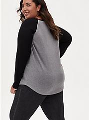 Grey & Black Waffle Knit Henley Top, , alternate