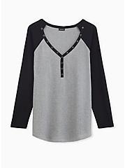 Grey & Black Waffle Knit Henley Top, , hi-res