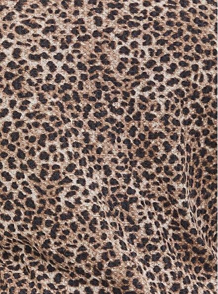 Leopard Waffle Knit Henley Top, , alternate