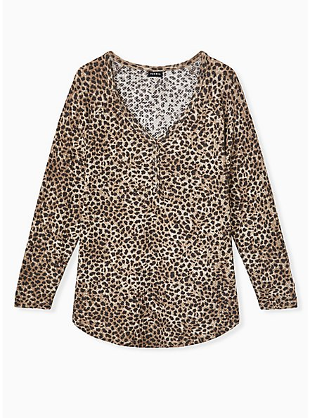 Leopard Waffle Knit Henley Top, , hi-res