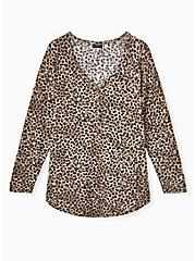 Leopard Waffle Knit Henley Top, , hi-res