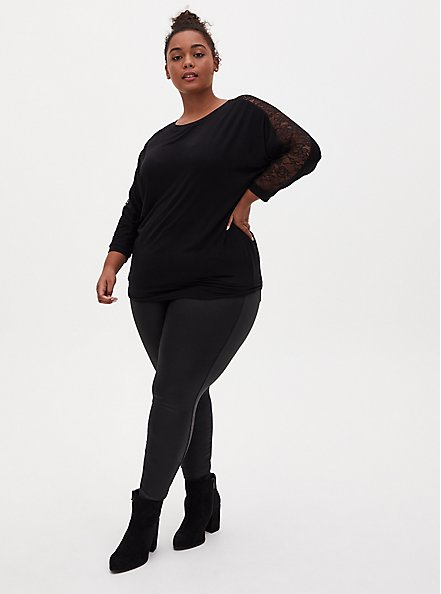 Super Soft Black Lace Panel Dolman Top , DEEP BLACK, alternate