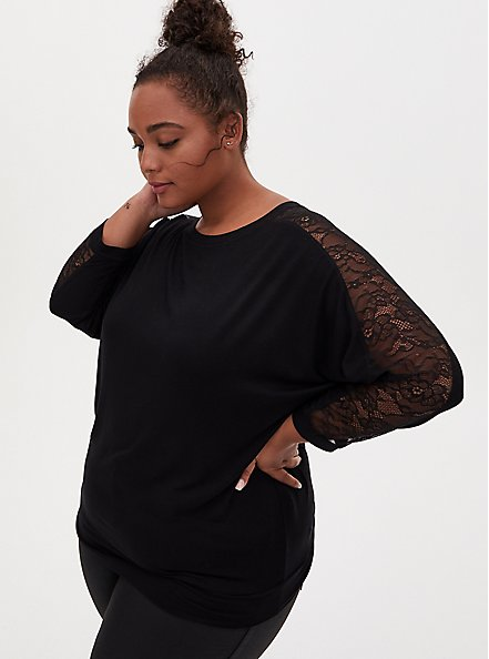 Super Soft Black Lace Panel Dolman Top , DEEP BLACK, hi-res