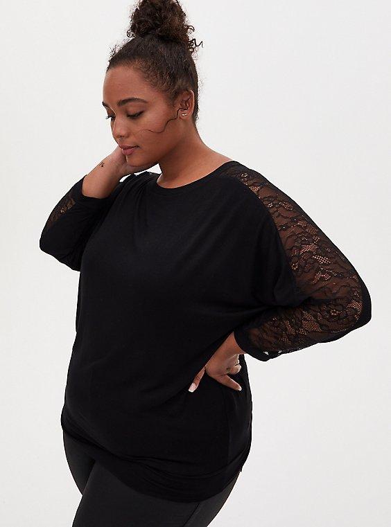 Super Soft Black Lace Panel Dolman Top , , hi-res