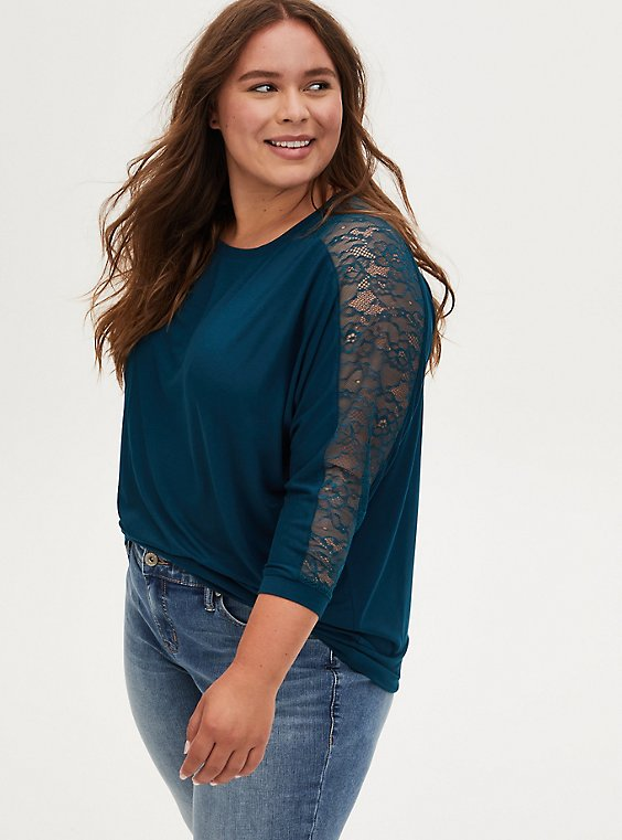 Super Soft Teal Lace Panel Dolman Top , , hi-res