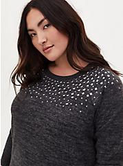 Super Soft Plush Black Studded Crew Sweatshirt, DEEP BLACK, alternate