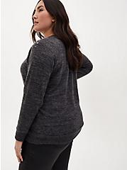 Super Soft Plush Black Studded Sweatshirt, DEEP BLACK, alternate