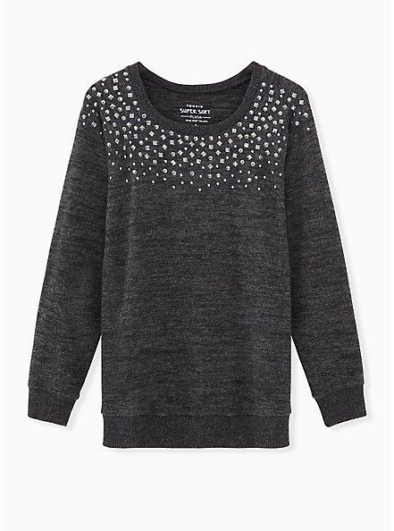 Super Soft Plush Black Studded Crew Sweatshirt, DEEP BLACK, hi-res