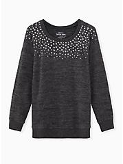 Super Soft Plush Black Studded Sweatshirt, DEEP BLACK, hi-res