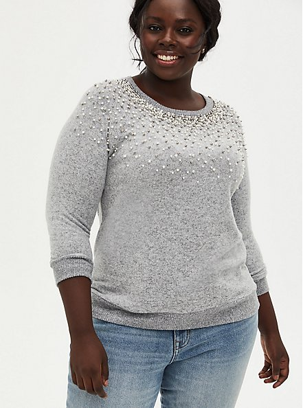 Super Soft Plush Light Grey Faux Pearl Crew Sweatshirt, , alternate
