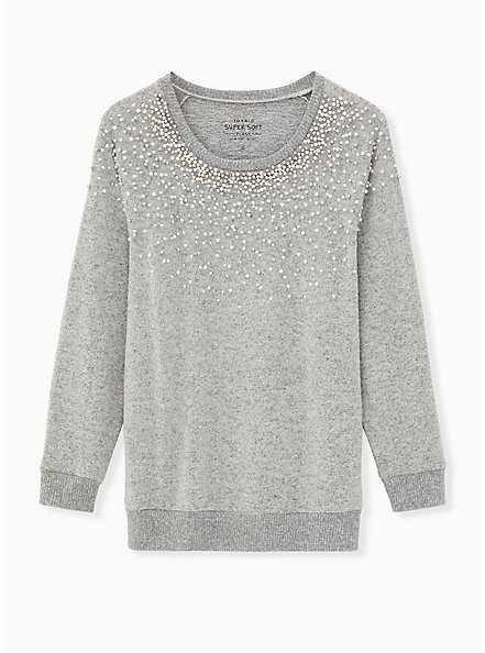 Super Soft Plush Light Grey Faux Pearl Crew Sweatshirt, , hi-res