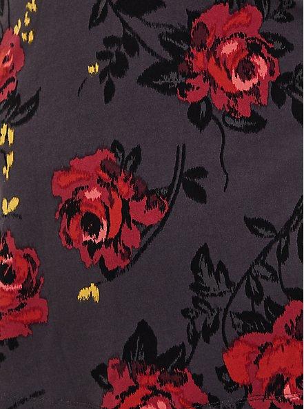 Dark Slate Grey Floral Studio Knit & Lace Mock Neck Peplum Blouse, DEEP BLACK, alternate