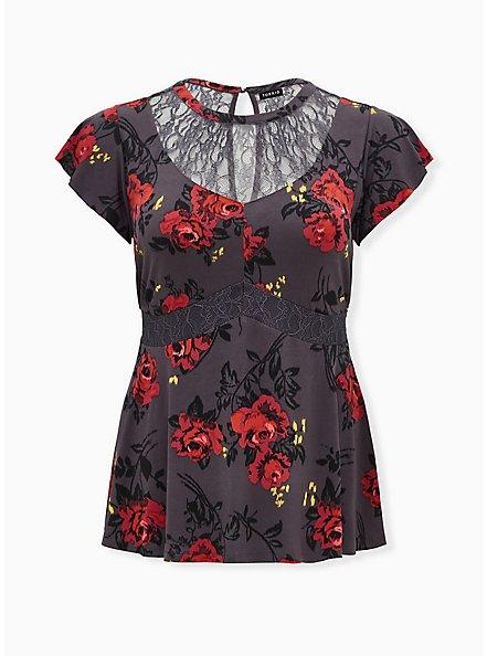 Dark Slate Grey Floral Studio Knit & Lace Mock Neck Peplum Blouse, DEEP BLACK, hi-res