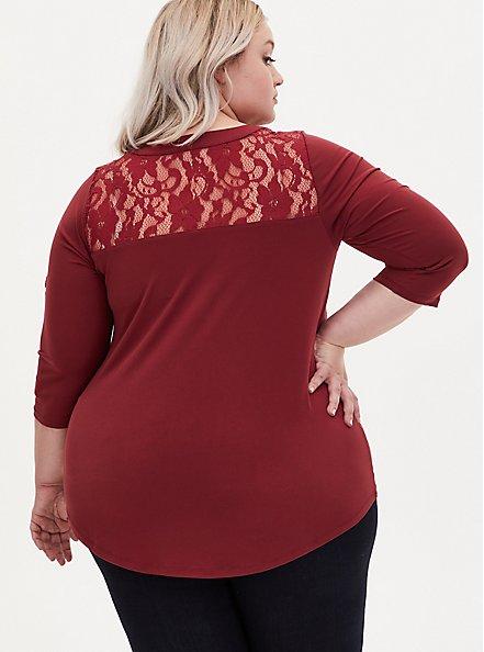 Harper - Brick Red Studio Knit Lace Yoke Pullover Blouse, , alternate