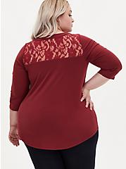 Harper - Studio Knit Dark Red Lace Yoke Pullover Blouse, , alternate