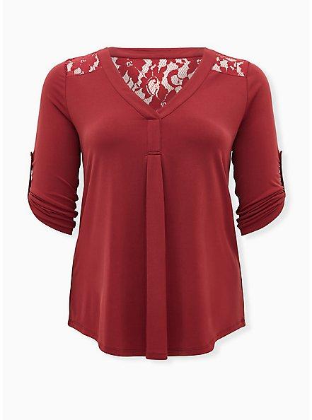 Harper - Brick Red Studio Knit Lace Yoke Pullover Blouse, , hi-res