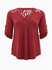 Harper - Studio Knit Dark Red Lace Yoke Pullover Blouse, , hi-res