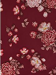 Dark Red Floral Mesh Smocked Mock Neck Tank, , alternate