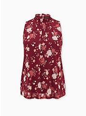 Dark Red Floral Mesh Smocked Mock Neck Tank, , hi-res