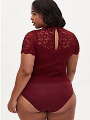 Dark Red Lace High Neck Short Sleeve Bodysuit, , alternate