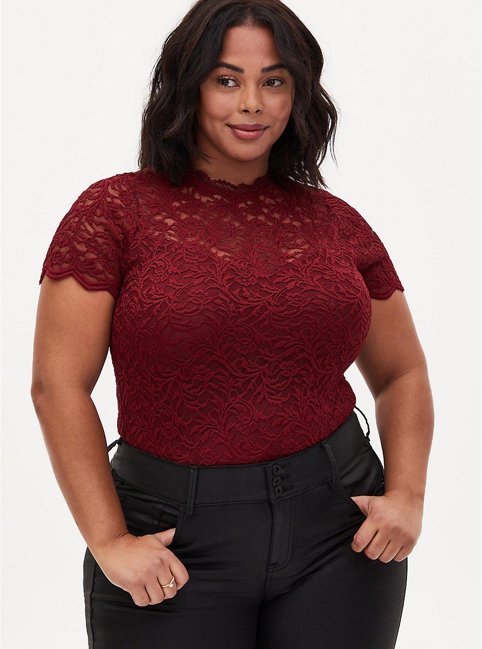 Dark Red Lace High Neck Short Sleeve Bodysuit, , hi-res