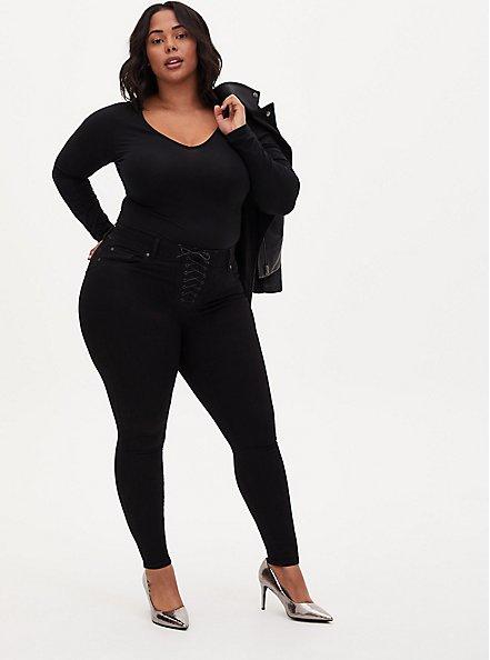 Black V-Neck Long Sleeve Foxy Bodysuit , DEEP BLACK, alternate