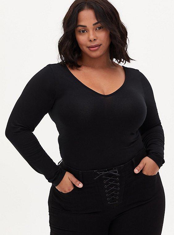 Black V-Neck Long Sleeve Foxy Bodysuit , , hi-res