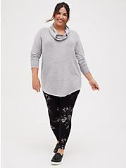 Super Soft Plush Light Grey Cowl Neck Tunic Sweatshirt, , alternate