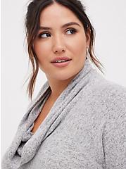 Plus Size Cowl Neck Tunic Sweatshirt - Super Soft Plush Light Grey , HEATHER GREY, alternate