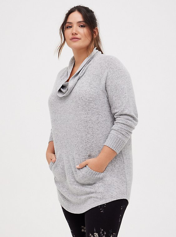 Super Soft Plush Light Grey Cowl Neck Tunic Sweatshirt, , hi-res