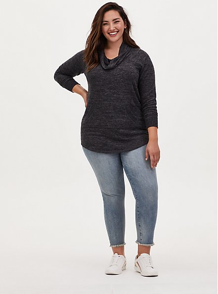 Super Soft Plush Black Cowl Neck Tunic Sweatshirt, DEEP BLACK, alternate