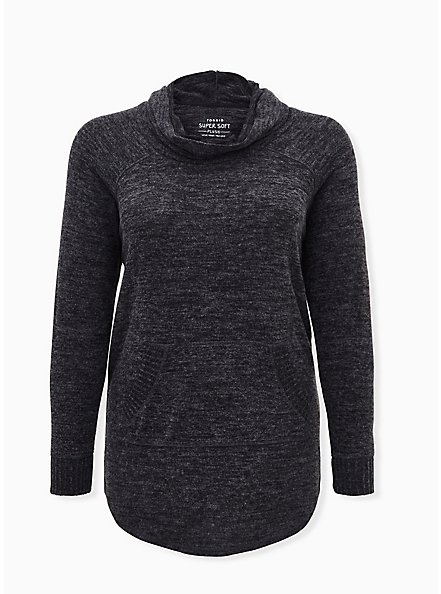 Super Soft Plush Black Cowl Neck Tunic Sweatshirt, DEEP BLACK, hi-res