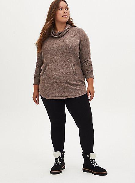 Plus Size Super Soft Plush Walnut Cowl Neck Tunic Sweatshirt, , alternate