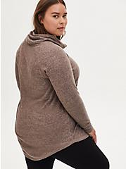 Super Soft Plush Walnut Cowl Neck Tunic Sweatshirt, , alternate