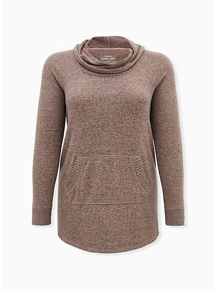 Plus Size Super Soft Plush Walnut Cowl Neck Tunic Sweatshirt, , hi-res