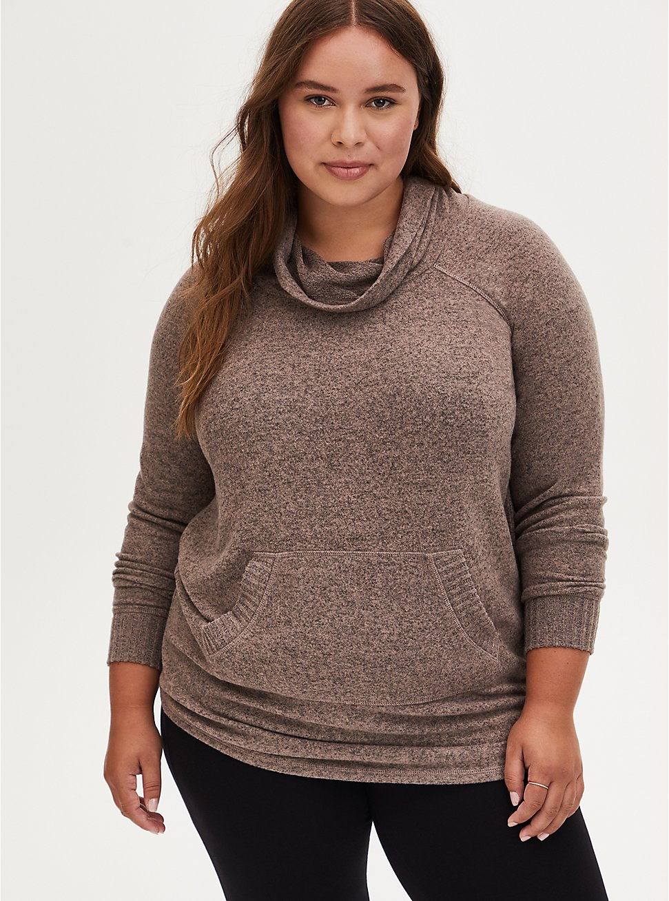 Super Soft Plush Walnut Cowl Neck Tunic Sweatshirt, , hi-res