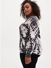 Super Soft Plush Black & White Tie-Dye Crew Sweatshirt, BLACK TIE DYE, alternate