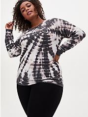Super Soft Plush Black & White Tie-Dye Crew Sweatshirt, BLACK TIE DYE, hi-res