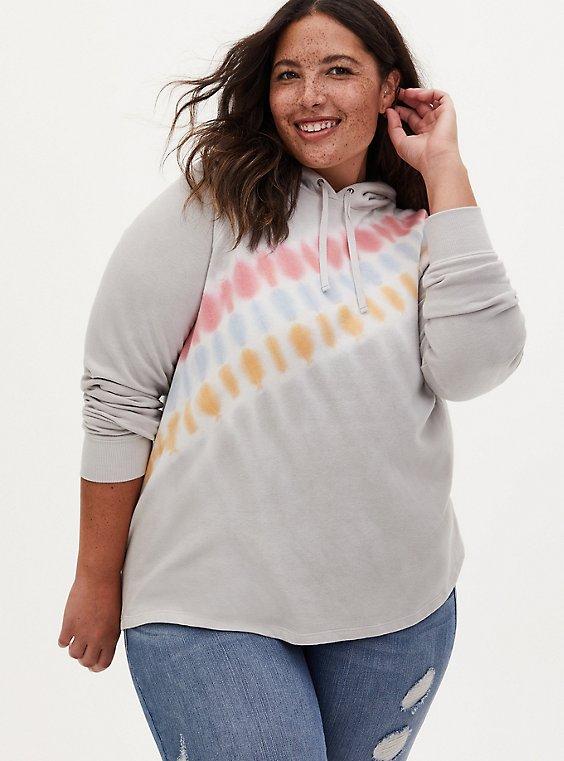Grey & Multi Tie-Dye Fleece Hoodie, , hi-res